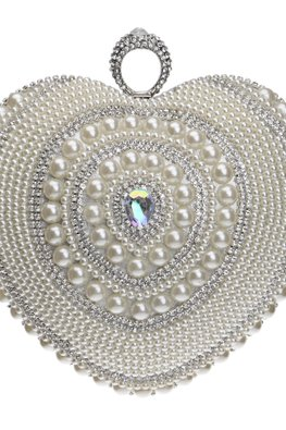Assorted Colours Heart-Shaped Pearls Bejeweled Clutch Bag