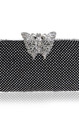 Assorted Colours Rectangular Butterfly Diamond Beaded Clutch Bag