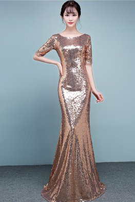 Gold Bateau Neckline Elbow Sleeves Sequin Floor Length Mermaid Gown