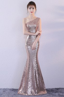 Assorted Colours One-Shoulder Sequin Floor Length Mermaid Gown
