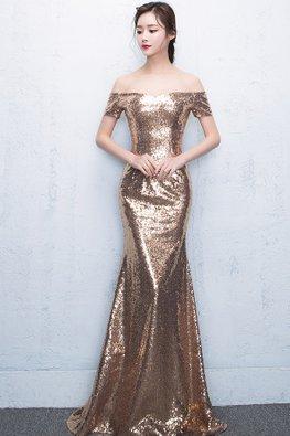 Gold Off-Shoulder Sequin Floor Length Mermaid Gown