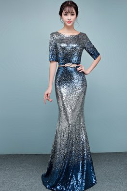 Blue Bateau Neckline Elbow Sleeves Sequin Floor Length Mermaid Gown