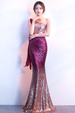 Purplish Red One-Shoulder Sequin Floor Length Mermaid Gown (Express)