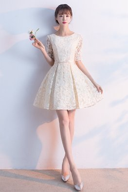 Cream Round Neck Elbow Sleeves Lace A-Line Dress