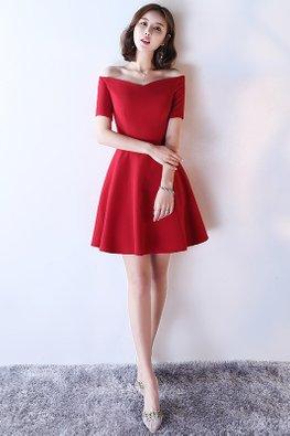 Red Off-Shoulder Sweetheart A-Line Dress