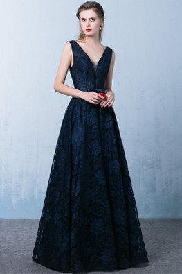 Dark Blue V-Neck Sleeveless Open Back  Lace A-line Gown