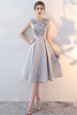 Grey Illusion Neckline Cap Sleeves Lace A-line Dress