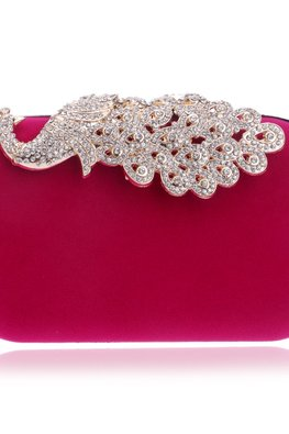 Assorted Colours Peacock Gem Embellished Clutch