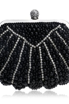 Assorted Colours Pearl Shell Diamonds Knob Clutch