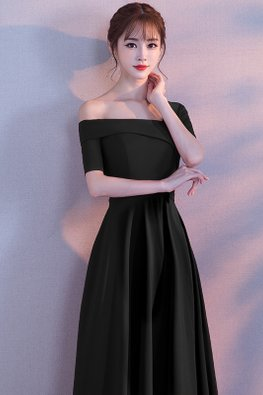 Assorted Colours Single Off-Shoulder  A-line Floor Length Gown
