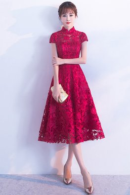 Wine Red Mandarin Collar Cap Sleeves Lace A-line Cheongsam (Express)
