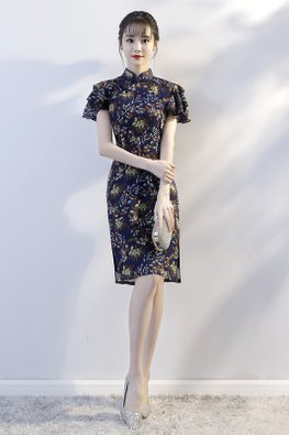 Dark Blue Mandarin Collar Ruffle Sleeves Side Slit Cheongsam