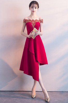Wine Red/Red Lace Off-Shoulder Asymmetrical Dress
