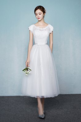 White/Champagne Round Neck Cap Sleeves A-line Gown