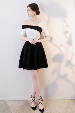 Monochrome Single Off-Shoulder A-Line Dress