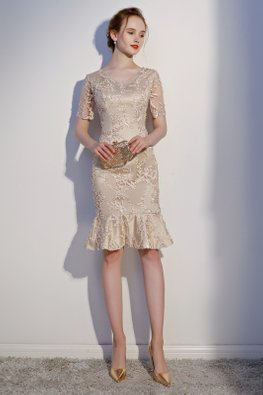 Champagne V-Neck Illusion Sleeves Mermaid Dress