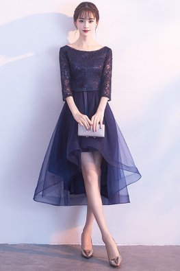Navy Blue Bateau Neckline Elbow Sleeves A-line Hi-Lo Gown (Express)