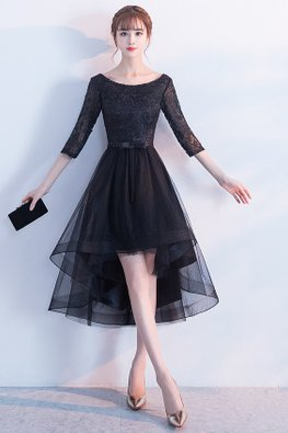 Black/Navy Blue Bateau Neckline Elbow Sleeves A-line Hi-Lo Gown