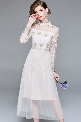 Almond Illusion Round Neck Floral Embroidery A-line Dress (Express)