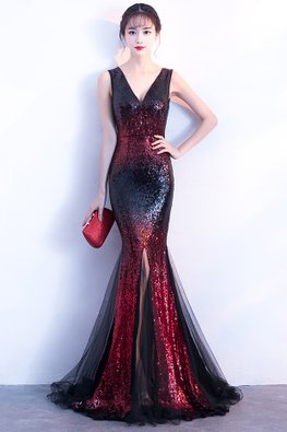 Red/Gold V-Neck Sequin Front Slit Floor Length Mermaid Gown