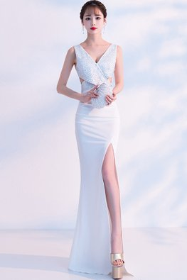 Assorted Colours V-Neck Beads Cut-Out High Slit Gown