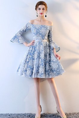 Blue Off-Shoulder Trumpet Sleeves Lace A-Line Dress