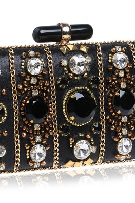 Black Rectangular Assorted Jewels Clutch Bag