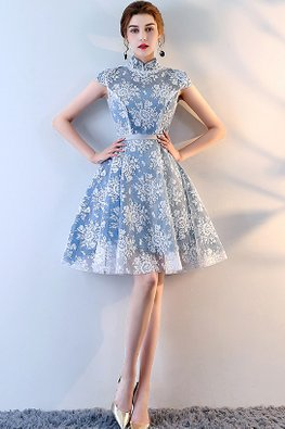 Blue Mandarin Collar Cap Sleeves Lace A-Line Dress