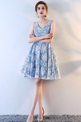 Blue V-Neck Lace A-Line Dress