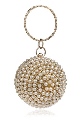 Assorted Colours Round Ball Pearl Clutch Bag