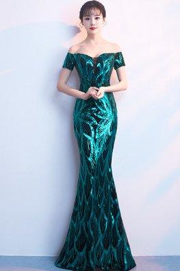 Assorted Colours Off-Shoulder Sequin Floor Length Mermaid Gown