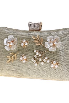 Assorted Colours Rectangular Floral Mesh Clutch Bag