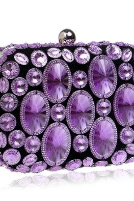 Assorted Colours Rectangular Jewel Clutch Bag
