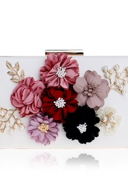 Assorted Colours Rectangular 3D Floral Clutch Bag