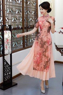 Peach Pink Mandarin Collar Floral Print Ao Dai Cheongsam
