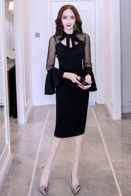 Black Open Keyhole Trumpet Sleeves Back Slit Dress