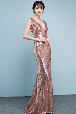 Rose Gold Deep V-Neck Sequin High Slit Floor Length Gown