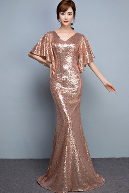 Rose Gold V-Neck Open Batwing Sleeves Sequin Floor Length Mermaid Gown