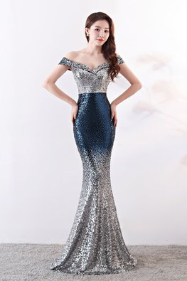 Blue/Brownish Red Off-Shoulder Sequin Floor Length Mermaid Gown