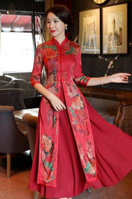 2-Pc Wine Red Mandarin Collar Elbow Sleeves Floral Print Ao Dai Cheongsam