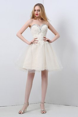 Champagne Sweetheart Strapless Tulle Gown