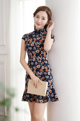 Blue Cap Sleeves Floral Print Mermaid Cheongsam