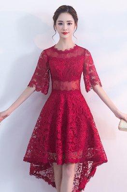 Wine Red Jewel Neck Illusion Sleeves Hi-Lo Lace Dress