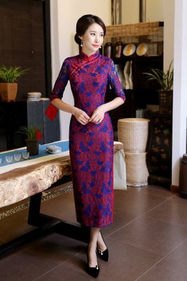 Red Blue Mandarin Collar Elbow Sleeves Butterfly Lace Cheongsam