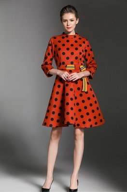 Orange Red Round Neck 3/4 Sleeves Polka Dots A-line Dress