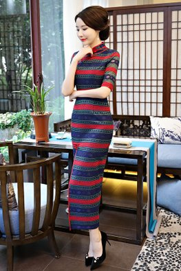 Blue Mandarin Collar Red Stripes Cheongsam