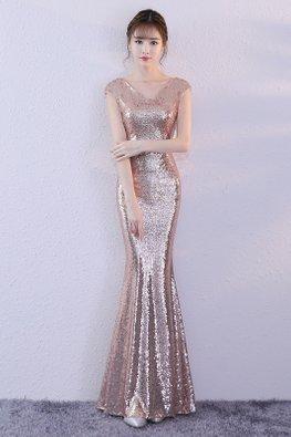 Rose Gold V-Neck Cap Sleeves Sequin Open Sheer Back Floor Length Mermaid Gown