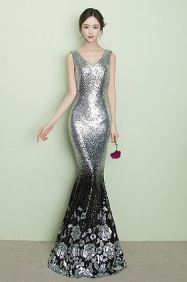 Silver V-Neck Sleeveless Sequin Ombre Floral Floor Length Mermaid Gown