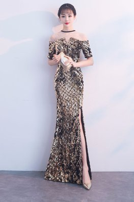 Black Gold Illusion Neckline Sequin High-Slit Mermaid Gown