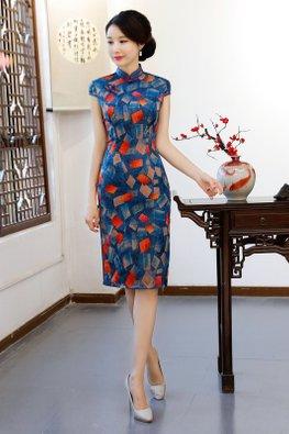 Blue Mandarin Collar Cap Sleeves Abstract Square Print Cheongsam